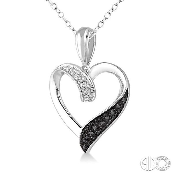 1/8 Ctw White and Black Diamond Heart Shape Pendant in Sterling Silver with Chain Image 2 Ross Elliott Jewelers Terre Haute, IN