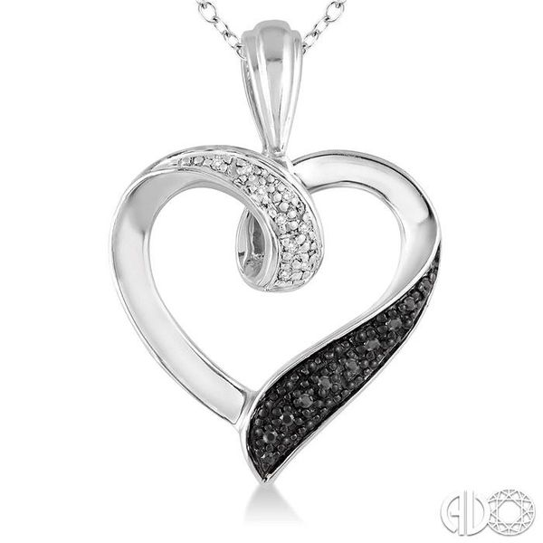 1/8 Ctw White and Black Diamond Heart Shape Pendant in Sterling Silver with Chain Image 3 Ross Elliott Jewelers Terre Haute, IN