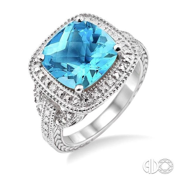 10x10mm Cushion Cut Blue Topaz and 1/20 Ctw Single Cut Diamond Ring in Sterling Silver Ross Elliott Jewelers Terre Haute, IN