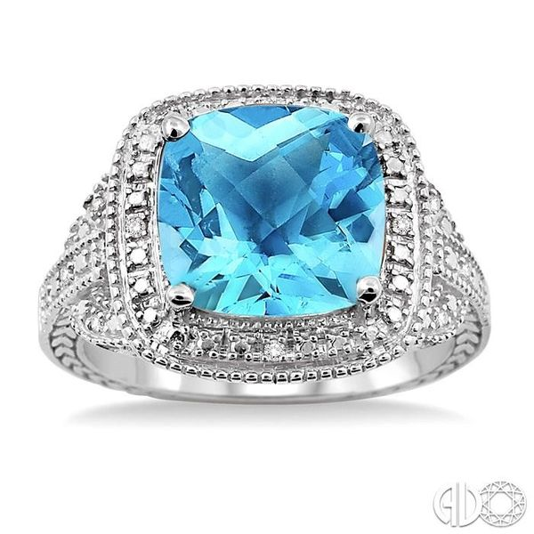 10x10mm Cushion Cut Blue Topaz and 1/20 Ctw Single Cut Diamond Ring in Sterling Silver Image 2 Ross Elliott Jewelers Terre Haute, IN