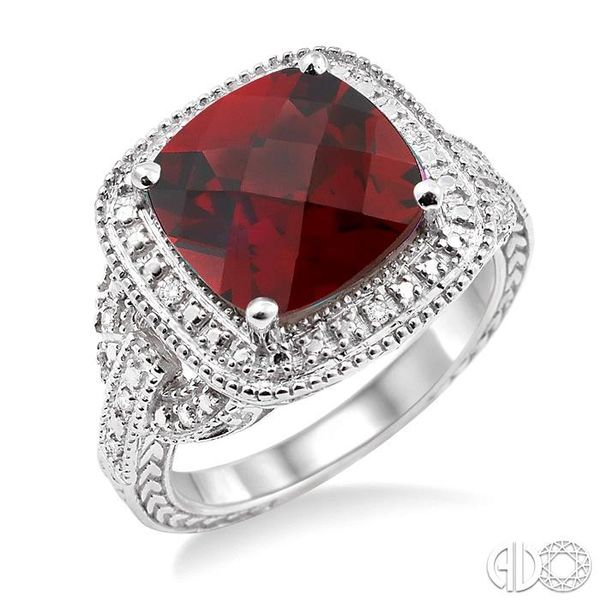 10x10mm Cushion Cut Garnet and 1/20 Ctw Single Cut Diamond Ring in Sterling Silver Ross Elliott Jewelers Terre Haute, IN