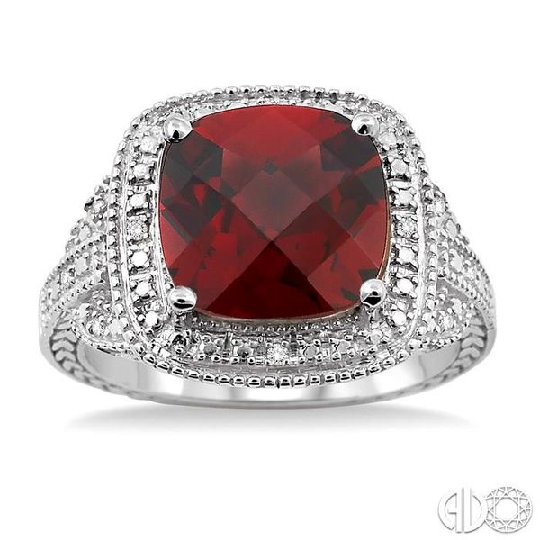 10x10mm Cushion Cut Garnet and 1/20 Ctw Single Cut Diamond Ring in Sterling Silver Image 2 Ross Elliott Jewelers Terre Haute, IN