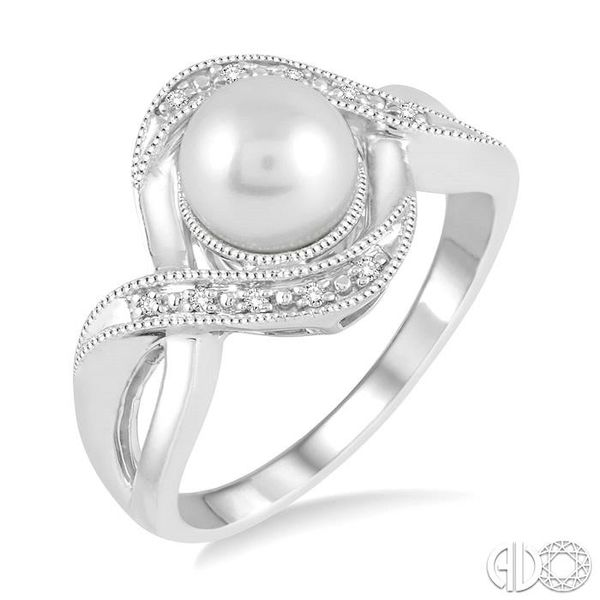 7x7 MM Cultured Pearl and 1/20 Ctw Round Cut Diamond Ring in Sterling Silver Ross Elliott Jewelers Terre Haute, IN