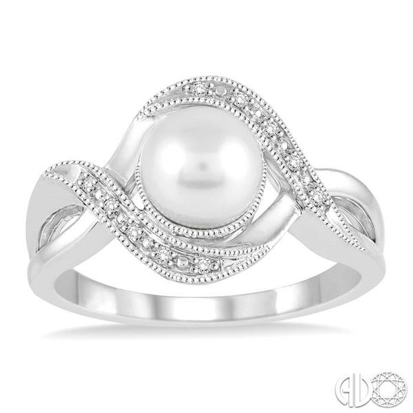 7x7 MM Cultured Pearl and 1/20 Ctw Round Cut Diamond Ring in Sterling Silver Image 2 Ross Elliott Jewelers Terre Haute, IN