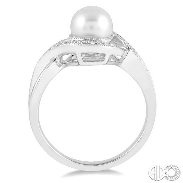 7x7 MM Cultured Pearl and 1/20 Ctw Round Cut Diamond Ring in Sterling Silver Image 3 Ross Elliott Jewelers Terre Haute, IN