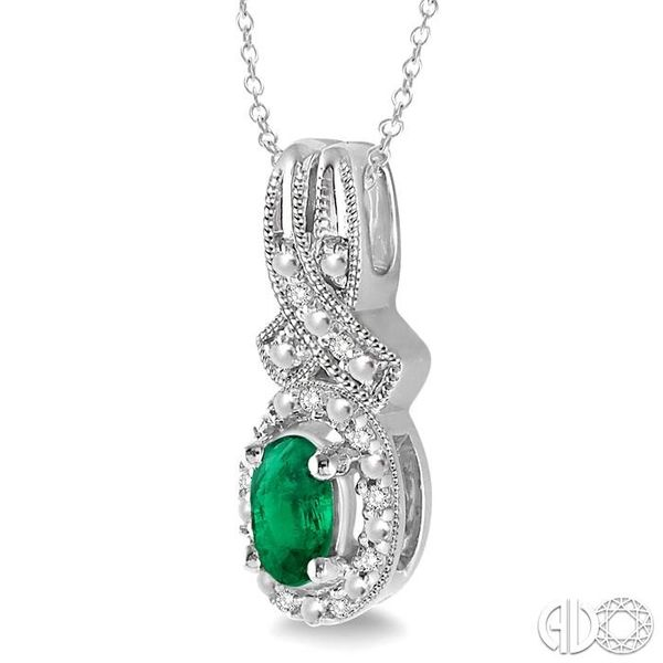5x3 mm Oval Cut Emerald and 1/50 Ctw Single Cut Diamond Pendant in Sterling Silver with Chain Image 2 Ross Elliott Jewelers Terre Haute, IN
