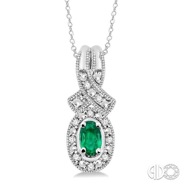 5x3 mm Oval Cut Emerald and 1/50 Ctw Single Cut Diamond Pendant in Sterling Silver with Chain Ross Elliott Jewelers Terre Haute, IN