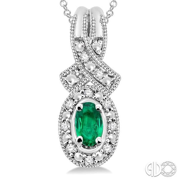 5x3 mm Oval Cut Emerald and 1/50 Ctw Single Cut Diamond Pendant in Sterling Silver with Chain Image 3 Ross Elliott Jewelers Terre Haute, IN