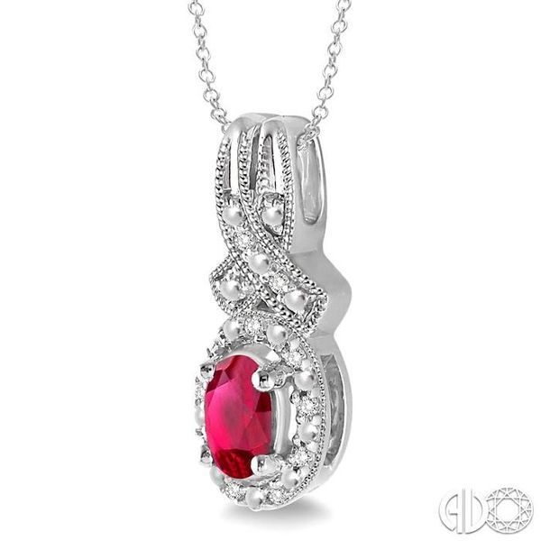5x3 mm Oval Cut Ruby and 1/50 Ctw Single Cut Diamond Pendant in Sterling Silver with Chain Image 2 Ross Elliott Jewelers Terre Haute, IN