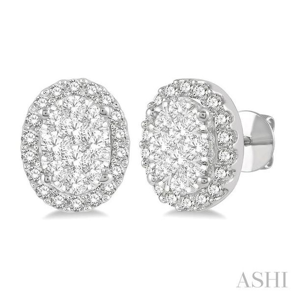1/2 Ctw Oval Shape Lovebright Round Cut Diamond Stud Earrings in 14K White Gold Ross Elliott Jewelers Terre Haute, IN