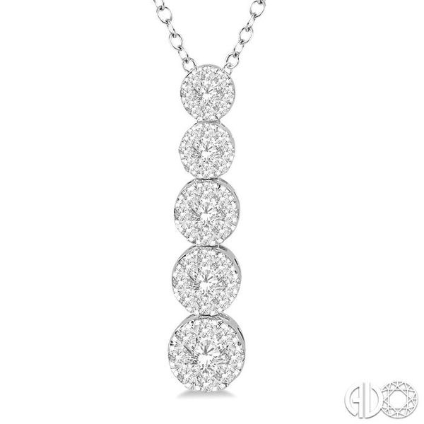 5/8 ctw Five Mount Lovebright Round Cut Diamond Pendant With Chain in 14K White Gold Image 3 Ross Elliott Jewelers Terre Haute, IN