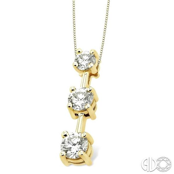 1 Ctw Three Stone Round Cut Diamond Pendant in 14K Yellow Gold with Chain Image 2 Ross Elliott Jewelers Terre Haute, IN