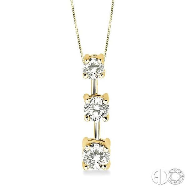 1 Ctw Three Stone Round Cut Diamond Pendant in 14K Yellow Gold with Chain Ross Elliott Jewelers Terre Haute, IN