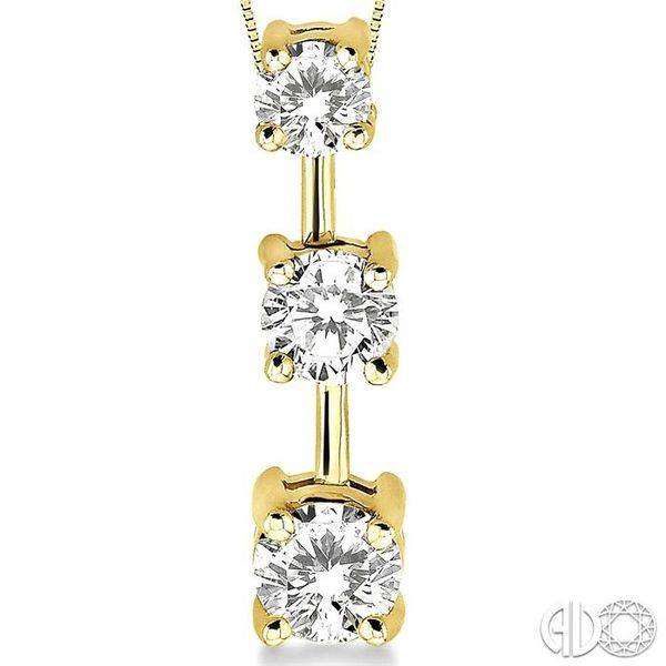 1 Ctw Three Stone Round Cut Diamond Pendant in 14K Yellow Gold with Chain Image 3 Ross Elliott Jewelers Terre Haute, IN