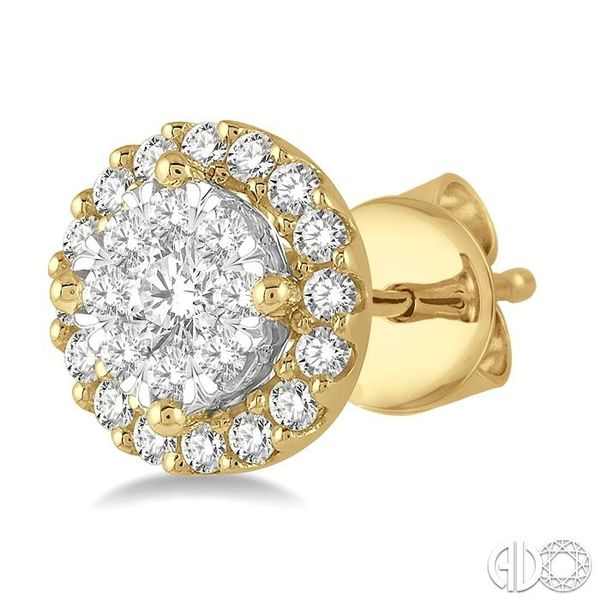 1/3 Ctw Lovebright Round Cut Diamond Stud Earrings in 14K Yellow and White Gold Image 3 Ross Elliott Jewelers Terre Haute, IN