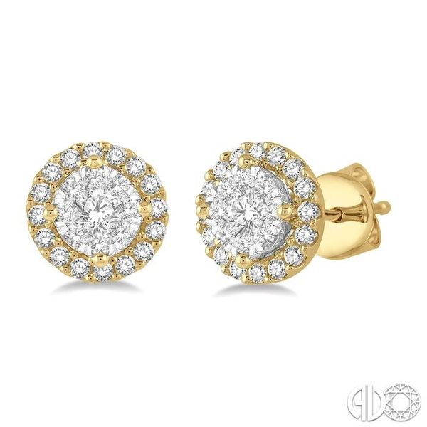 1/3 Ctw Lovebright Round Cut Diamond Stud Earrings in 14K Yellow and White Gold Ross Elliott Jewelers Terre Haute, IN