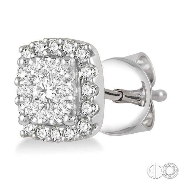 1/3 Ctw Cushion Shape Lovebright Round Cut Diamond Stud Earrings in 14K White Gold Image 3 Ross Elliott Jewelers Terre Haute, IN