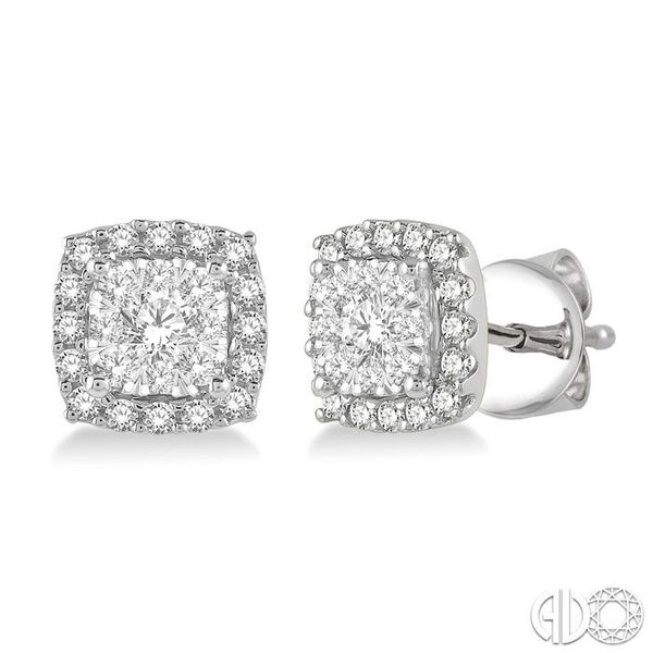 1/3 Ctw Cushion Shape Lovebright Round Cut Diamond Stud Earrings in 14K White Gold Ross Elliott Jewelers Terre Haute, IN