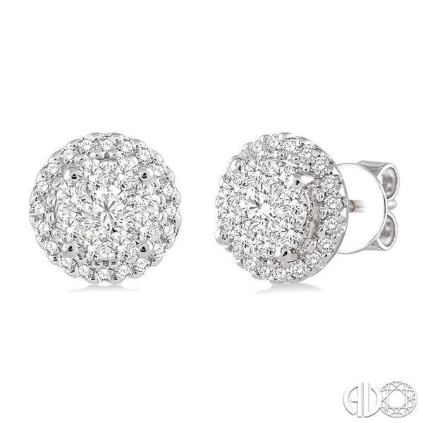 1 Ctw Lovebright Round Cut Diamond Earrings in 14K White Gold Ross Elliott Jewelers Terre Haute, IN