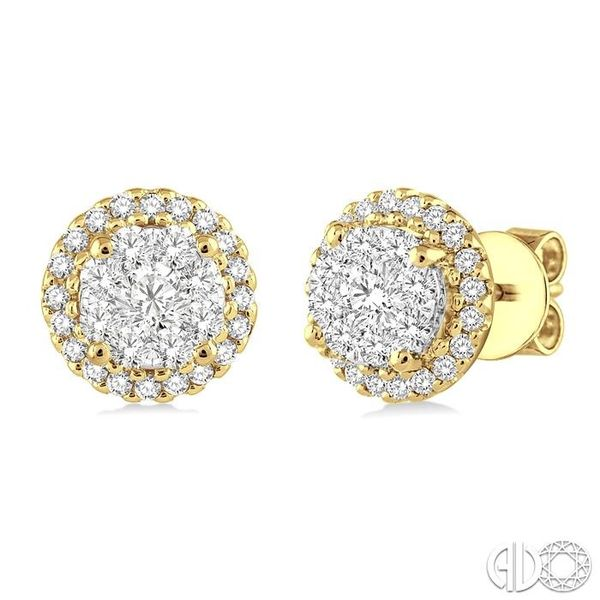 1 Ctw Lovebright Round Cut Diamond Earrings in 14K Yellow and White Gold Ross Elliott Jewelers Terre Haute, IN