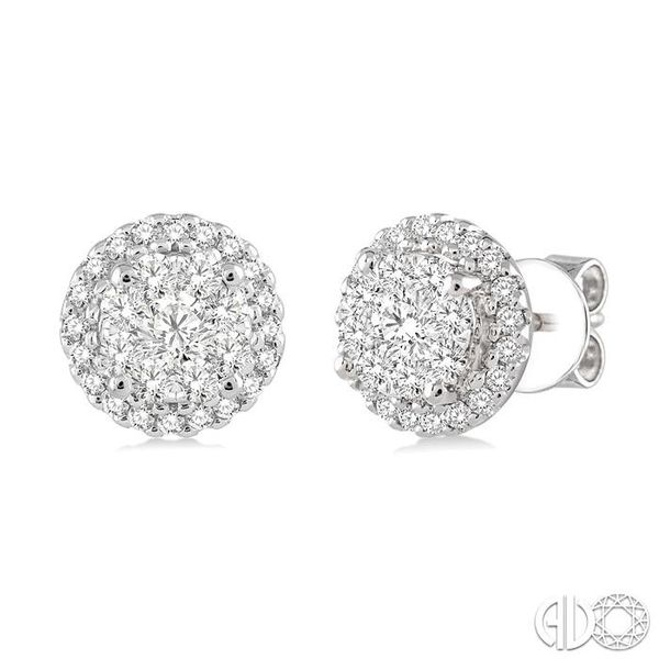 3/4 Ctw Lovebright Round Cut Diamond Earrings in 14K White Gold Ross Elliott Jewelers Terre Haute, IN