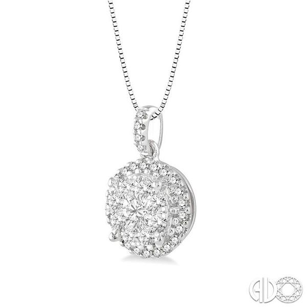 1/2 Ctw Lovebright Round Cut Diamond Pendant in 14K White Gold with Chain Image 2 Ross Elliott Jewelers Terre Haute, IN