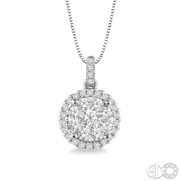 1/2 Ctw Lovebright Round Cut Diamond Pendant in 14K White Gold with Chain Ross Elliott Jewelers Terre Haute, IN