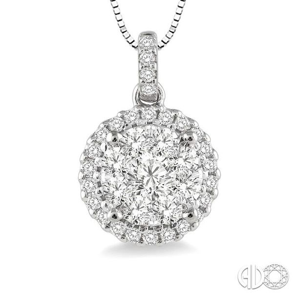 1/2 Ctw Lovebright Round Cut Diamond Pendant in 14K White Gold with Chain Image 3 Ross Elliott Jewelers Terre Haute, IN