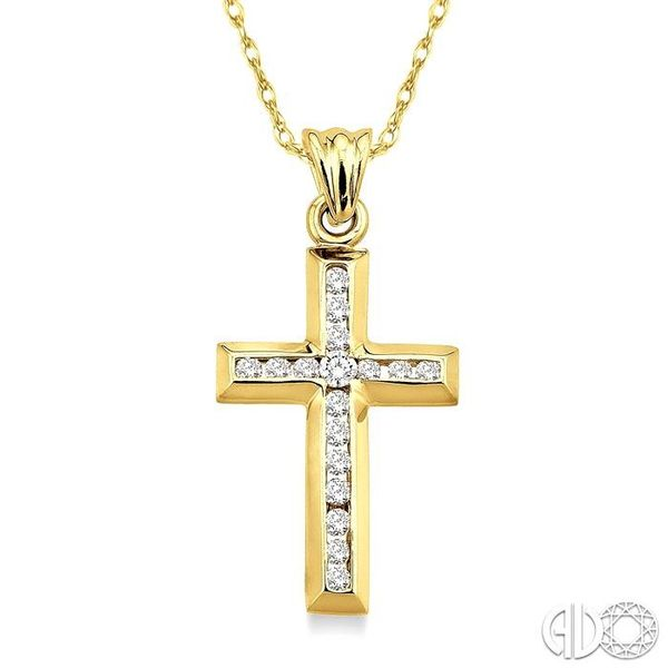 1/4 Ctw Round Cut Diamond Cross Pendant in 10K Yellow Gold with Chain Ross Elliott Jewelers Terre Haute, IN