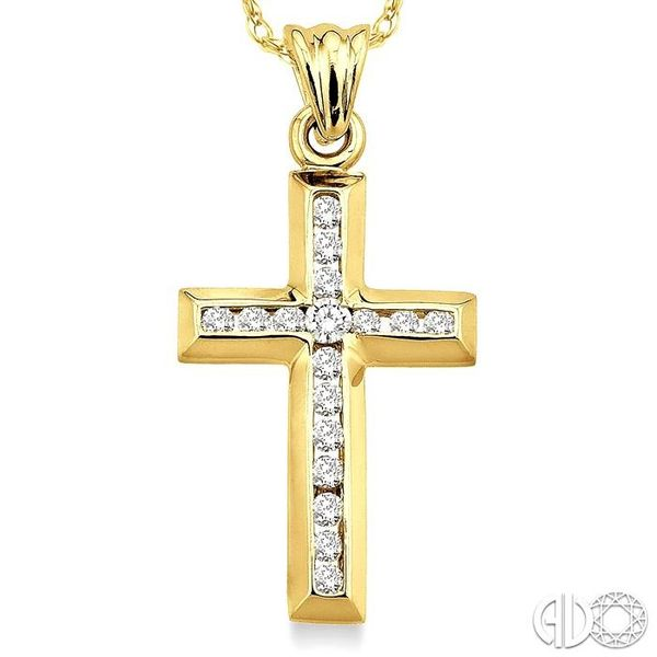 1/4 Ctw Round Cut Diamond Cross Pendant in 10K Yellow Gold with Chain Image 3 Ross Elliott Jewelers Terre Haute, IN