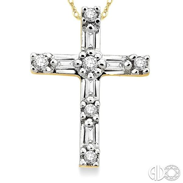 1/10 Ctw Diamond Cross Pendant in 14K Yellow Gold with Chain Image 3 Ross Elliott Jewelers Terre Haute, IN
