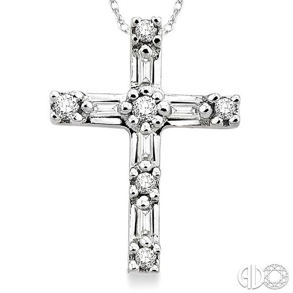 1/10 Ctw Diamond Cross Pendant in 10K White Gold with Chain Image 3 Ross Elliott Jewelers Terre Haute, IN
