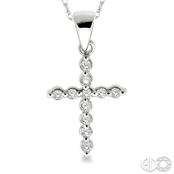 1/10 Ctw Round Cut Diamond Cross Pendant in 14K White Gold with Chain Image 3 Ross Elliott Jewelers Terre Haute, IN