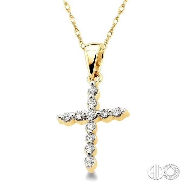 1/10 Ctw Round Cut Diamond Cross Pendant in 10K Yellow Gold with Chain Image 2 Ross Elliott Jewelers Terre Haute, IN