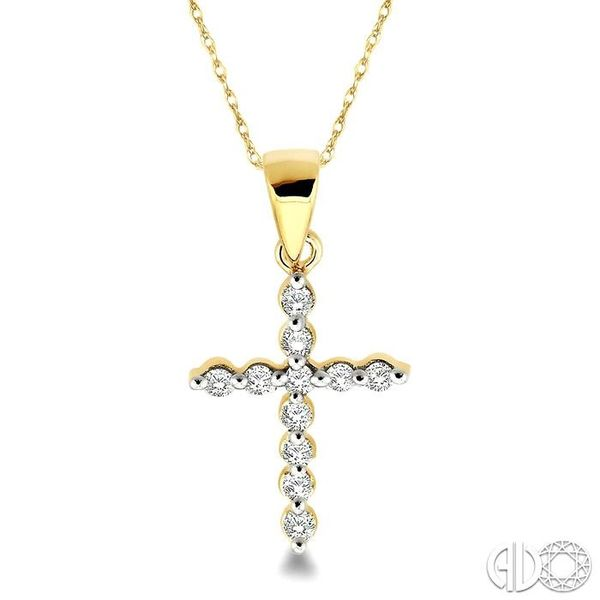 1/10 Ctw Round Cut Diamond Cross Pendant in 10K Yellow Gold with Chain Ross Elliott Jewelers Terre Haute, IN