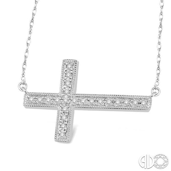 1/5 Ctw Round Cut Sideway Cross Pendant in 10K White Gold with Chain Image 2 Ross Elliott Jewelers Terre Haute, IN