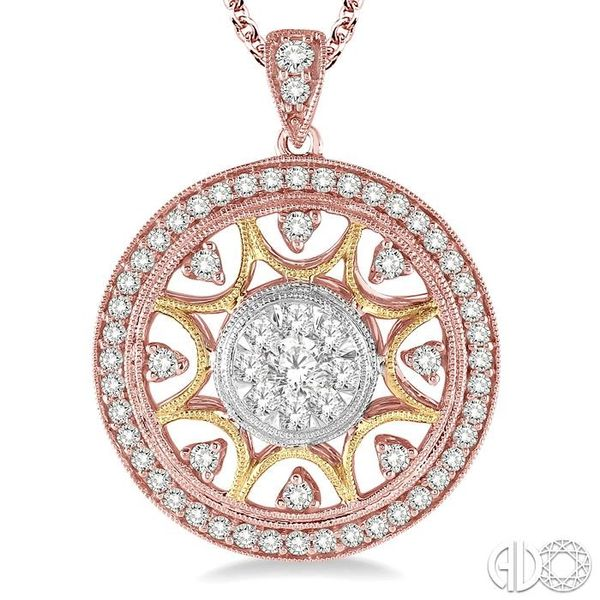 1 Ctw Round Cut Diamond Lovebright Pendant in 14K Tri Color Gold with Chain Image 3 Ross Elliott Jewelers Terre Haute, IN