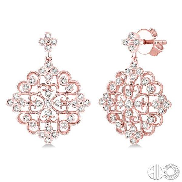 1 Ctw Round Cut Diamond Fashion Earrings in 14K Rose Gold Ross Elliott Jewelers Terre Haute, IN