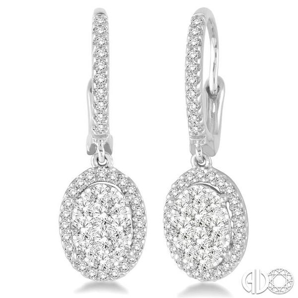 2 Ctw Oval Shape Diamond Lovebright Earrings in 14K White Gold Ross Elliott Jewelers Terre Haute, IN