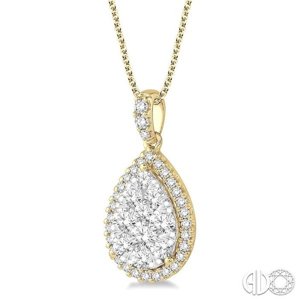 1 1/2 Ctw Pear Shape Diamond Lovebright Pendant in 14K Yellow and White Gold with Chain Image 2 Ross Elliott Jewelers Terre Haute, IN