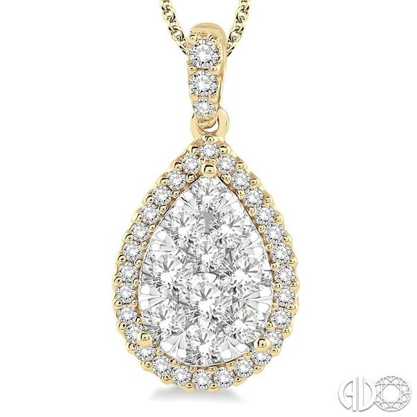 1 1/2 Ctw Pear Shape Diamond Lovebright Pendant in 14K Yellow and White Gold with Chain Image 3 Ross Elliott Jewelers Terre Haute, IN