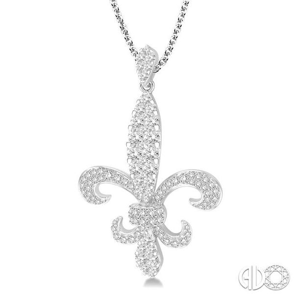 1 3/4 Ctw Round Cut Diamond Fleur De Lis Pendant in 14K White Gold with Chain Image 2 Ross Elliott Jewelers Terre Haute, IN