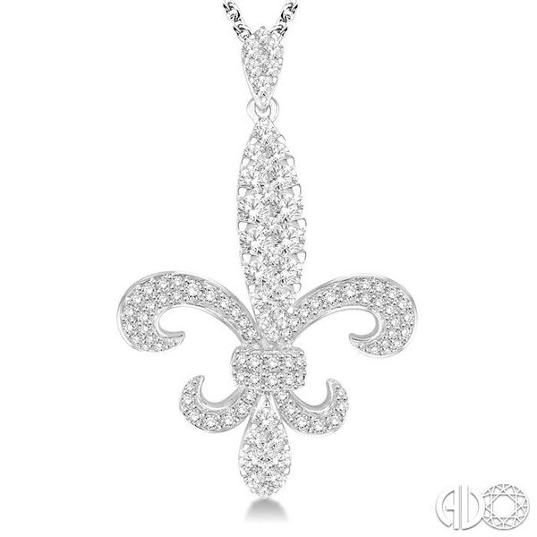 1 3/4 Ctw Round Cut Diamond Fleur De Lis Pendant in 14K White Gold with Chain Image 3 Ross Elliott Jewelers Terre Haute, IN