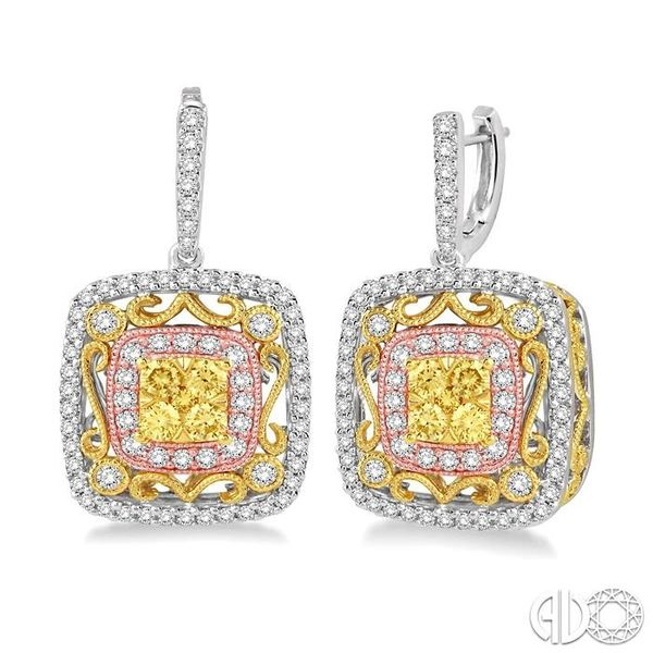 1 1/10 Ctw Round Cut White and Yellow Diamond Earrings in 14K Tri Color Gold Ross Elliott Jewelers Terre Haute, IN