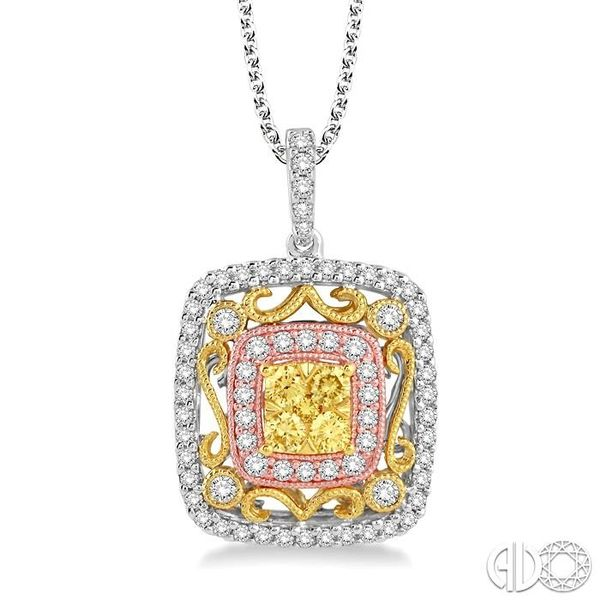 3/4 Ctw Round Cut Diamond Pendant in 14K Tri color Gold with Chain Ross Elliott Jewelers Terre Haute, IN