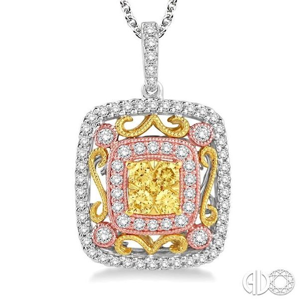 3/4 Ctw Round Cut Diamond Pendant in 14K Tri color Gold with Chain Image 3 Ross Elliott Jewelers Terre Haute, IN