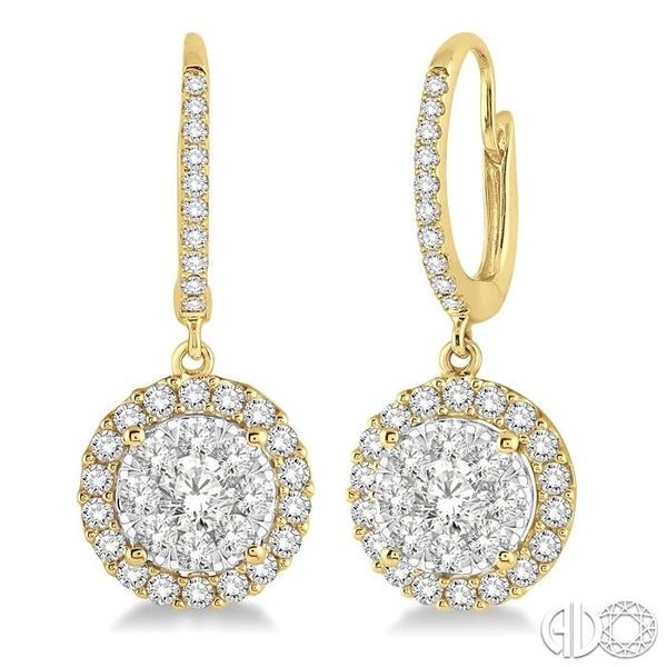 1 Ctw Round Cut Diamond Lovebright Earrings in 14K Yellow Gold Ross Elliott Jewelers Terre Haute, IN