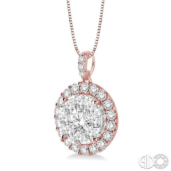 1 Ctw Round Cut Diamond Lovebright Pendant in 14K Rose Gold with Chain Image 2 Ross Elliott Jewelers Terre Haute, IN