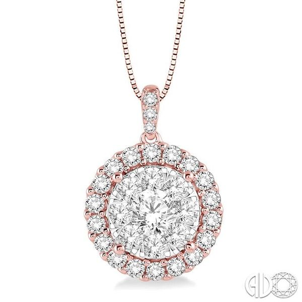 1 Ctw Round Cut Diamond Lovebright Pendant in 14K Rose Gold with Chain Ross Elliott Jewelers Terre Haute, IN