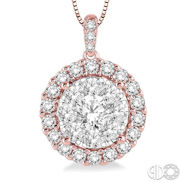 1 Ctw Round Cut Diamond Lovebright Pendant in 14K Rose Gold with Chain Image 3 Ross Elliott Jewelers Terre Haute, IN